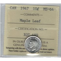 Canada 1947 Silver 10 Cent Maple Leaf ICCS MS64