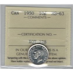 Canada 1950 Silver 10 Cent ICCS MS63