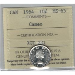 Canada 1954 Silver 10 Cent ICCS MS65 Cameo