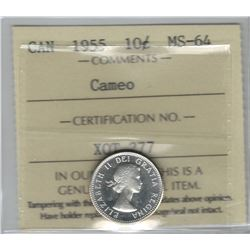 Canada 1955 Silver 10 Cent ICCS MS64 Cameo