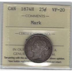 Canada 1874H Silver 25 Cent ICCS VF20 Mark