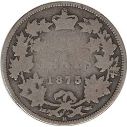 Canada 1875H Silver 25 Cent KEY DATE G4