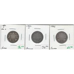 Canada 1880H, 1881H, 1886 Silver 25 Cent Lot