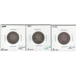 Canada 1888, 1892, 1894 Silver 25 Cent Lot