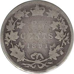 Canada 1891 Silver 25 Cent G Rim Bump Residue