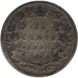 Canada 1894 Silver 25 Cent VG