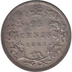 Canada 1901 Silver 25 Cent F15
