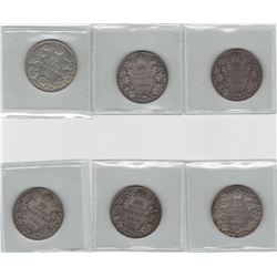 Canada Lot of 6 Edwardian Silver 50 Cent Coins