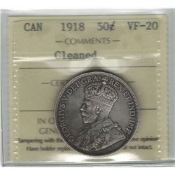 Canada 1918 Silver 50 Cent ICCS VF20 Cleaned