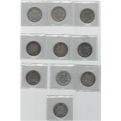 Canada Lot of 10 George V Silver 50 Cent Coins