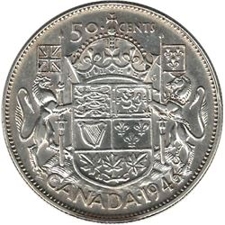 Canada 1946 Hoof Silver 50 Cent VF Cleaned