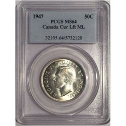 Canada 1947 Silver 50 Cent ML St7Lft. PCGS MS64