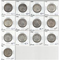 Canada George VI Silver 50 Cent Lot (13 pcs)