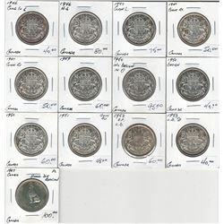 Canada Silver 50 Cent Lot (13 pcs)