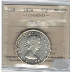 Canada 1958 Dot Silver 50 Cent ICCS MS63