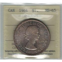 Canada 1964 Silver Dollar ICCS MS65