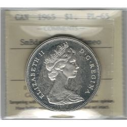 Canada 1965 Small Beads Blunt 5 Silver Dollar ICCS PL65 Cameo