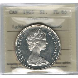 Canada 1965 Large Beads Blunt 5 Silver Dollar ICCS PL65 Cameo