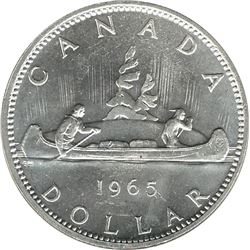Canada 1965 Silver Dollar 15% Rotation BU
