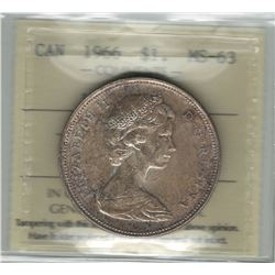 Canada 1966 Large Beads Silver Dollar ICCS MS63 Toned