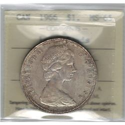 Canada 1966 Large Beads Silver Dollar ICCS MS65 Toned