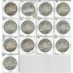 Canada 1966 Silver Dollar Lot Minor Rotations BU (13 pcs)