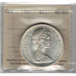 Canada 1967 Silver Dollar ICCS MS63