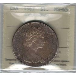 Canada 1967 Silver Dollar ICCS MS65 Dark Colourful Toning