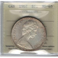 Canada 1967 Silver Dollar ICCS MS65
