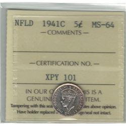 Canada Newfoundland 1941c Silver 5 Cent ICCS MS64