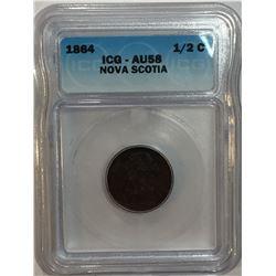 Canada Nova Scotia 1864 1/2 Cent ICG AU58