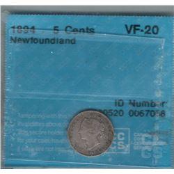 Canada Newfoundland 1894 Silver 5 Cent CCCS VF20