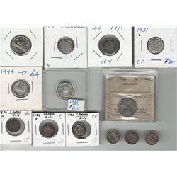 Canada 5 & 10 Cent Coin Lot. (13 pcs)