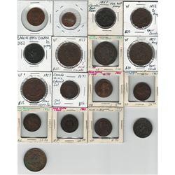 Canadian Token & Provincial Penny Lot. (17 pcs)