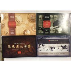 Canada Specimen Sets - 2001 2002 2003 2004 - 4 Sets