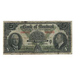 Canada 1938 $5 Bank of Montreal Banknote 505-62-02 VG-F