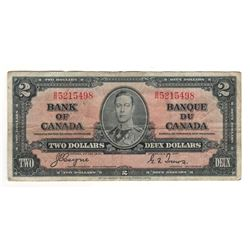 Canada 1937 $2 Banknote Coyne-Towers B/R BC-22c F+