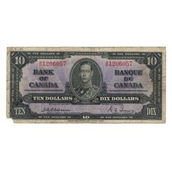 Canada 1937 $10 Banknote Osborne-Towers F corner missing