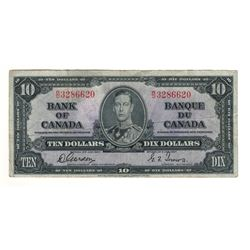 Canada 1937 $10 Banknote Gordon-Towers W/D BC-24b F