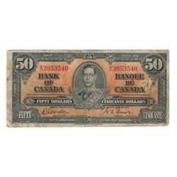 Canada 1937 $50 Banknote Coyne-Towers B/H BC-26c F writing