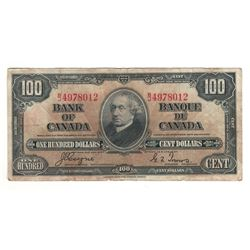 Canada 1937 $100 Banknote Coyne-Towers B/J BC-27c F stains