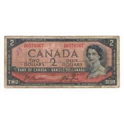 Canada 1954 $2 Devils Hair Banknote Beattie-Coyne H/B BC-30b F stains writing