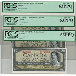 Canada 1954 $20 Devils Hair 3 Banknotes in Sequence PMG MS63