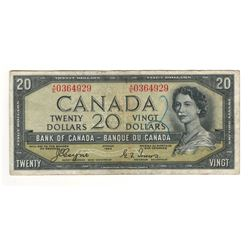 Canada 1954 $20 Devils Hair Banknote Coyne-Towers A/E BC-33a VF Writing