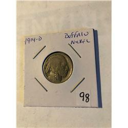 Extremely Rare Key Date 1914 D Top 5 Buffalo Nickel Good Grade acid wash