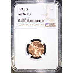 1995 LINCOLN CENT, NGC MS-68 RED