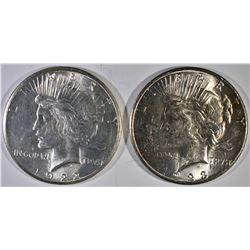 1922-S & 23-S PEACE DOLLARS, CH BU