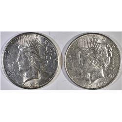 1923-D & 23-S PEACE DOLLARS, CH BU