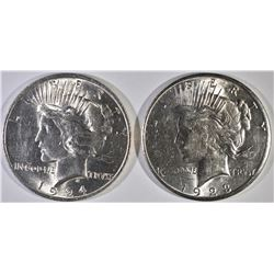 1923-S & 24 PEACE DOLLARS, CH BU