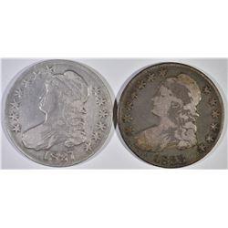 1827 FINE & 1833 VF BUST HALF DOLLARS